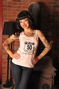 Pink Slick 50s Vest Top