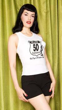 White Slick 50s Vest Top