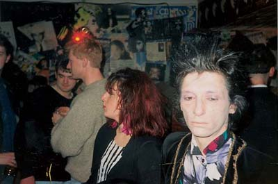 New York Dolls and Heartbreakers Johnny Thunders and fans. Photo Dublin 1990 (The Shakers were special guests on J.T.'s birthday at the old Marquee in July 1985).